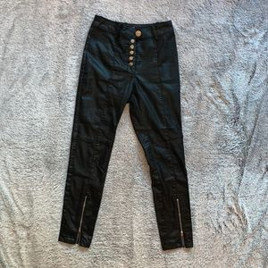 H&M Black Shine Button Up Skinny Jean Size 6